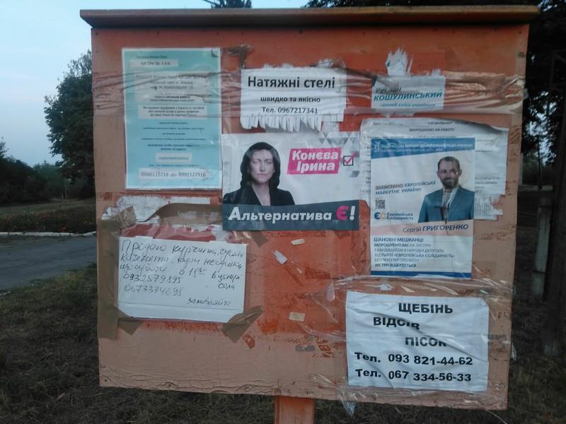 В окрузі №19 виявили агітплакати на користь двох кандидатів