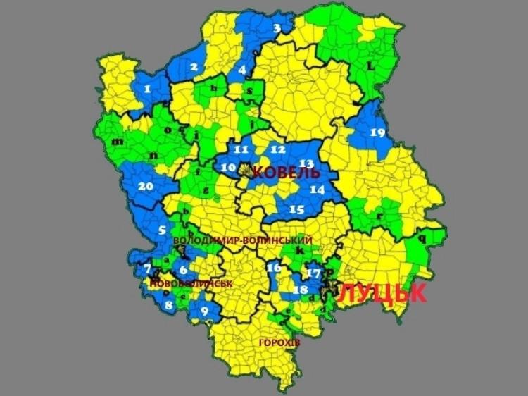 Зеленим кольором та літерами позначено ОТГ, де вибори заплановані на 29 жовтня 2017 року Синій кольором та цифрами позначені ОТГ, де вибори вже відбулися