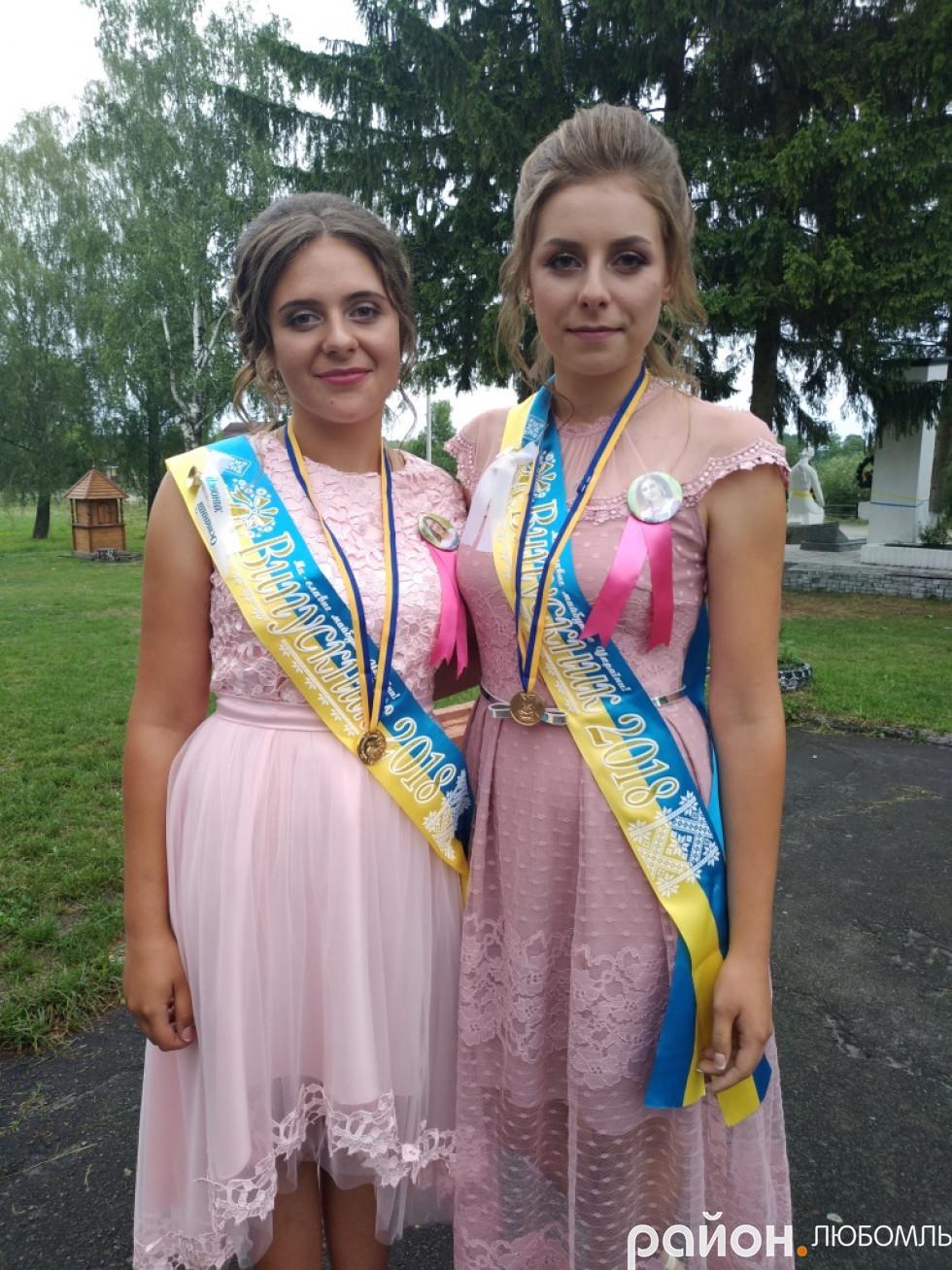 Золоті медалістки Машівського НВК Марія Чуєш та Мирослава Савосюк.