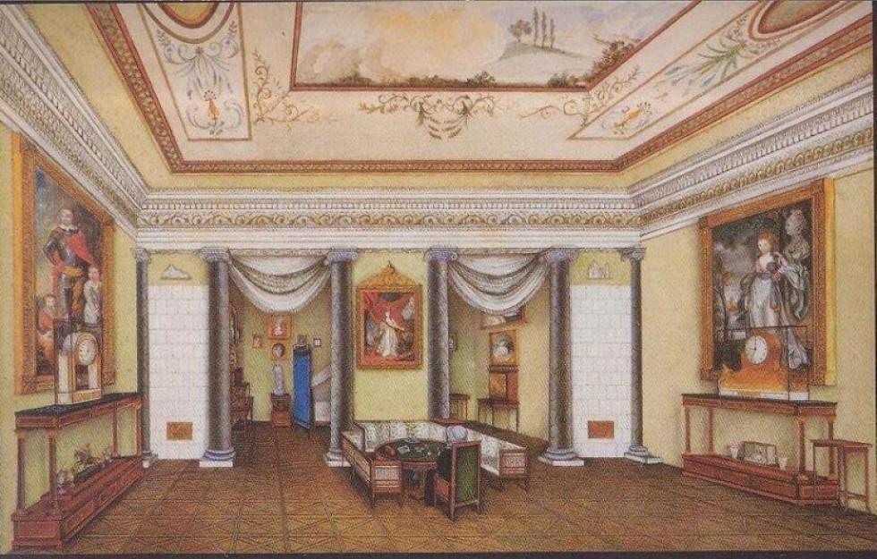 Інтер'єр зали з палацу в Любомлі. Акварель 1827 року